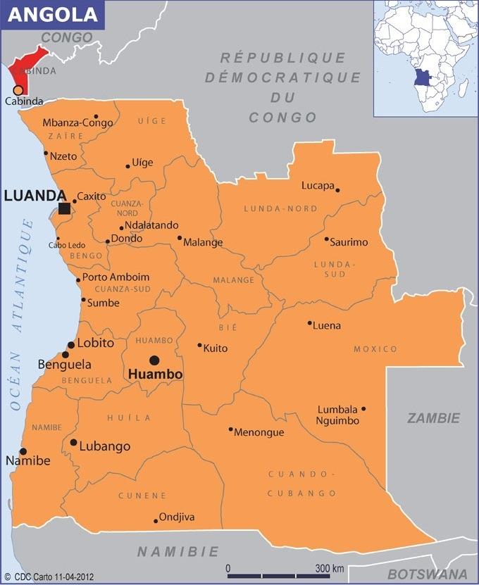 Carte d'Angola des provinces et des villes