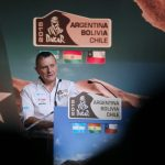Etienne Lavigne, Director of the Dakar rally delivers a speech during a news conference to announce the 2015 Argentina-Bolivia-Chile Dakar rally in Paris November 19, 2014. The Dakar 2015 rally will start on January 4, 2015 from Buenos Aires in Argentina and arrive back in the capital on January 17, 2015 via Chile and Bolivia. REUTERS/Jacky Naegelen (FRANCE - Tags: SPORT MOTORSPORT) - RTR4EQE7